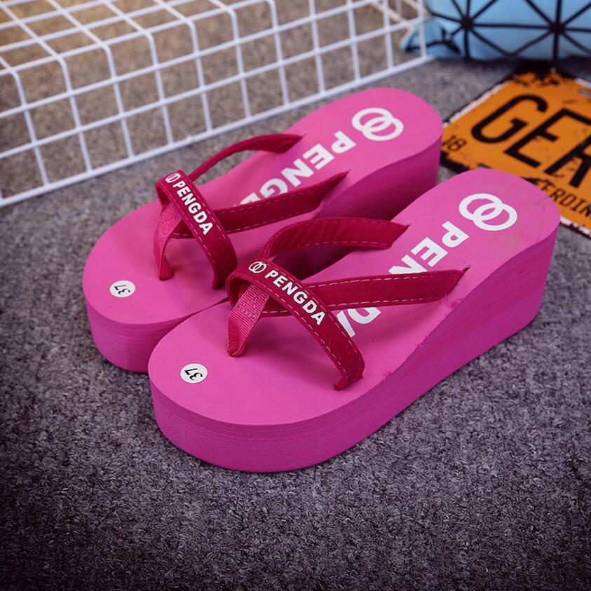 Platform Sandals Shoes Women High Heel Casual Shoes Summer Style Woman Slippers With Platform Flip Flops Sapato Feminino    X157 summer women shoes casual cutouts lace canvas shoes hollow floral breathable platform flat shoe sapato feminino lace sandals