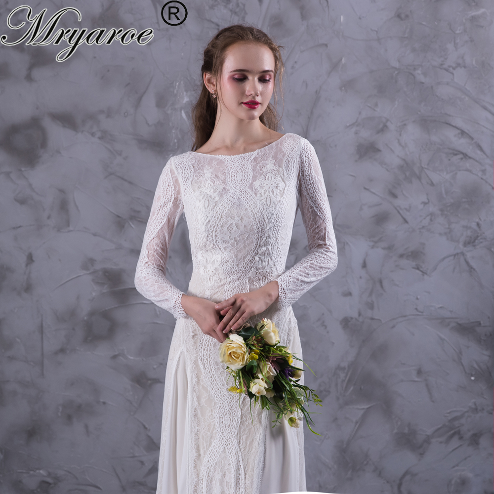 Mryarce Lace Bohemian Wedding Dresses French Lace Long Sleeve Boho ...