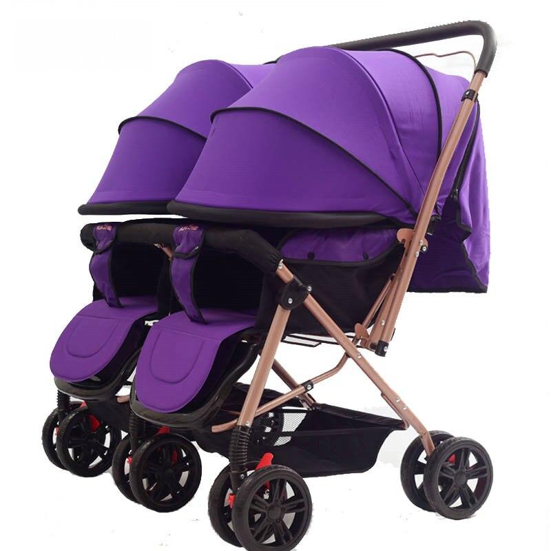 56 см highlanscape близнецы коляска, рама из углеродистой стали близнецы коляска бок о бок, 2 способ нажать дети перевозки с москитная сетка