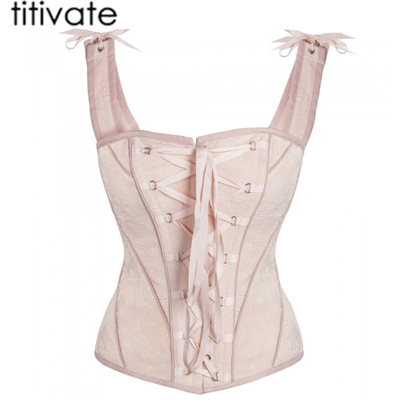 TITIVATE High Quality Corset Sexy Women Satin Bone Lace Up Catsuit Overbust Slim Corset Top