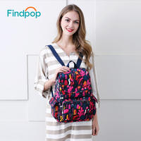 Findpop Printing Backpack Wommen Mochilas Mujer 2017 Famous Brand Laptop Backpack Casual Travel Backpack Female Nylon