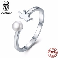Hot Trendy Pure 100 925 Sterling Silver Crown And Natural Freshwater Pearl Adjustable Open Rings For