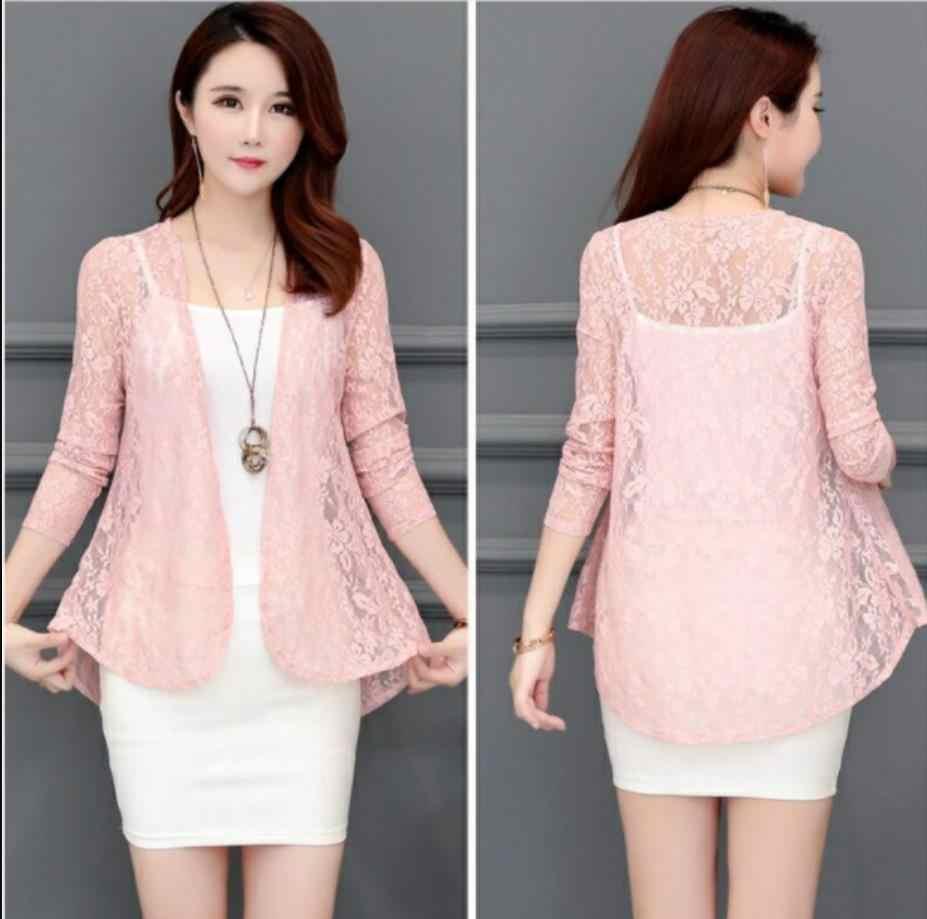 Blusa de renda Europeu Americano moda jaqueta casaco 2019 verão jaqueta curta casaco cardigan fino de manga comprida básica camisa 201909