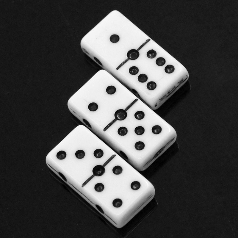 8SEASONS Acrylic Spacer Beads Dominoes White W/Black Dot 20x10mm,Hole:Approx 2.3mm,50PCs 2015 new