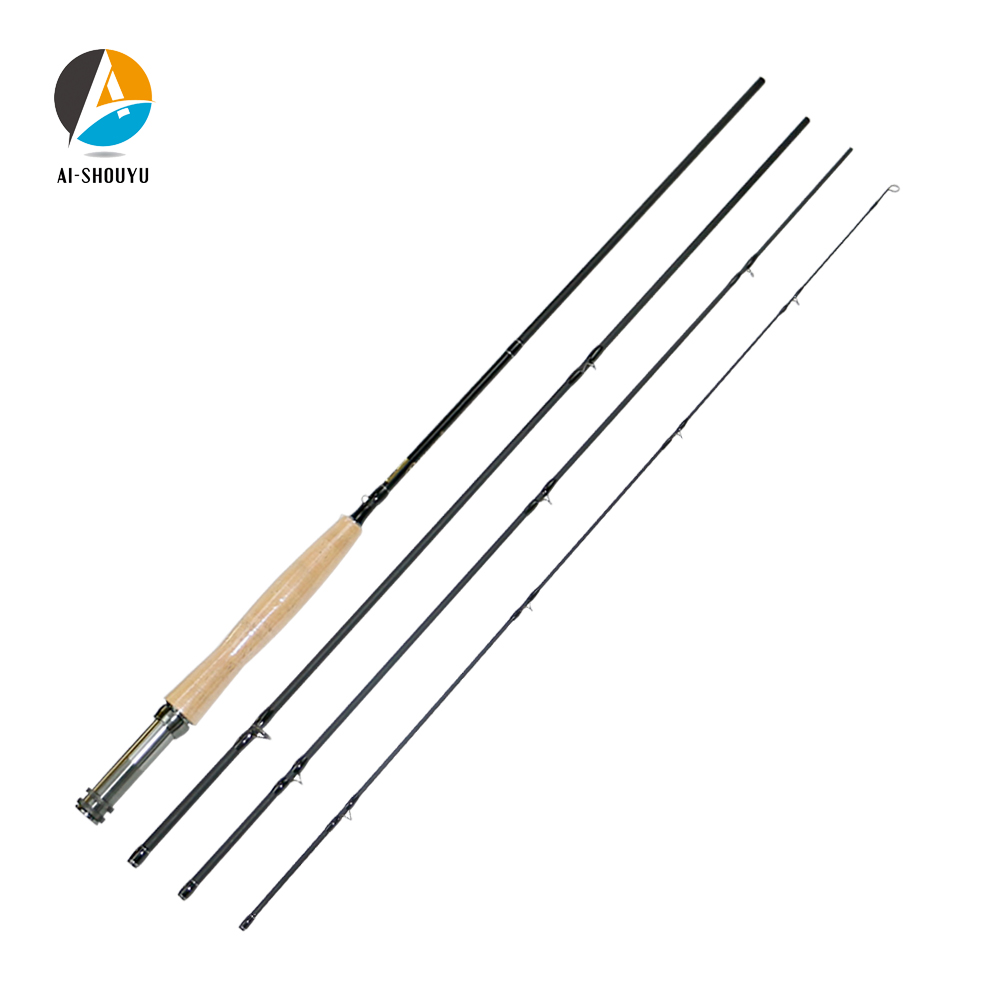AI-SHOUYU 2.4m 2.7m High Carbon Fly Fishing Rod with Soft Cork Handle Fish Tackle Portable 4 Section Travel