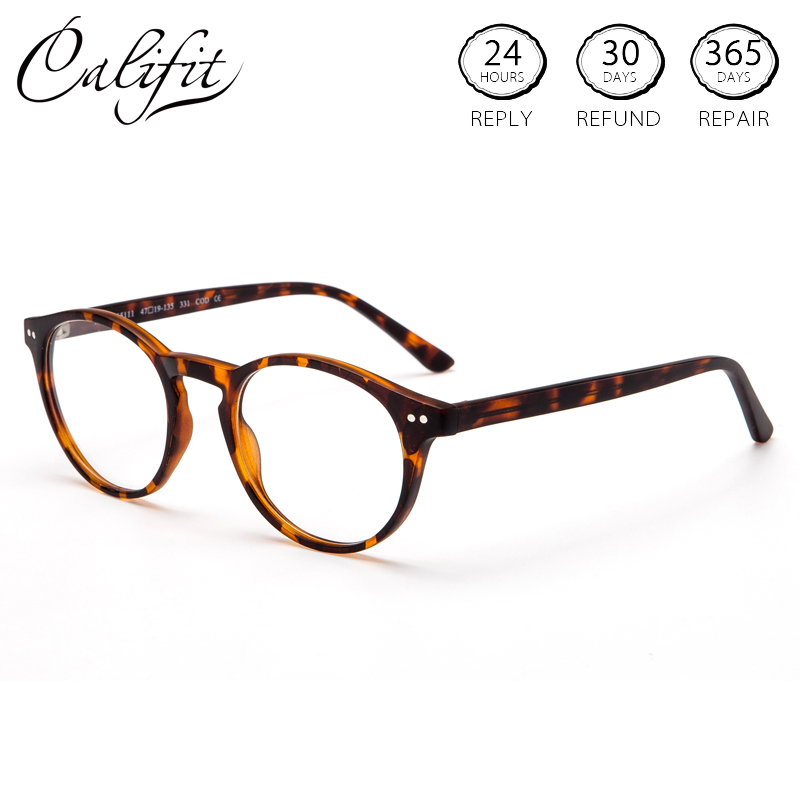 CALIFIT Optical-Glasses Lenses Round-Frame Clear Women Refractive Female Multi-Color