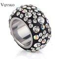 Модные хрустальные кольца нержавеющая сталь Сделано из натуральных Австрийские кристаллы Полный размеры оптовая продажа - фото