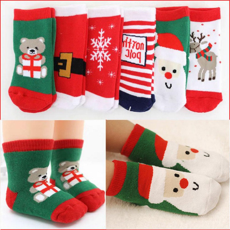 2Pcs/Pair Christmas Kids Warm Slipper Socks Snowflake Deer Santa Claus Bear Printed Cotton Baby Xmas Gift Cute Jacquard Socks christmas candy santa claus snowflake choker dress