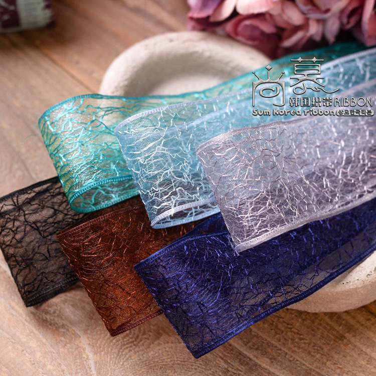 100yards 25mm 40mm grid mesh organza sheer korean ribbon for flower gift packing skirt decoration accessories hair bow supplies in Ribbons from Home Garden