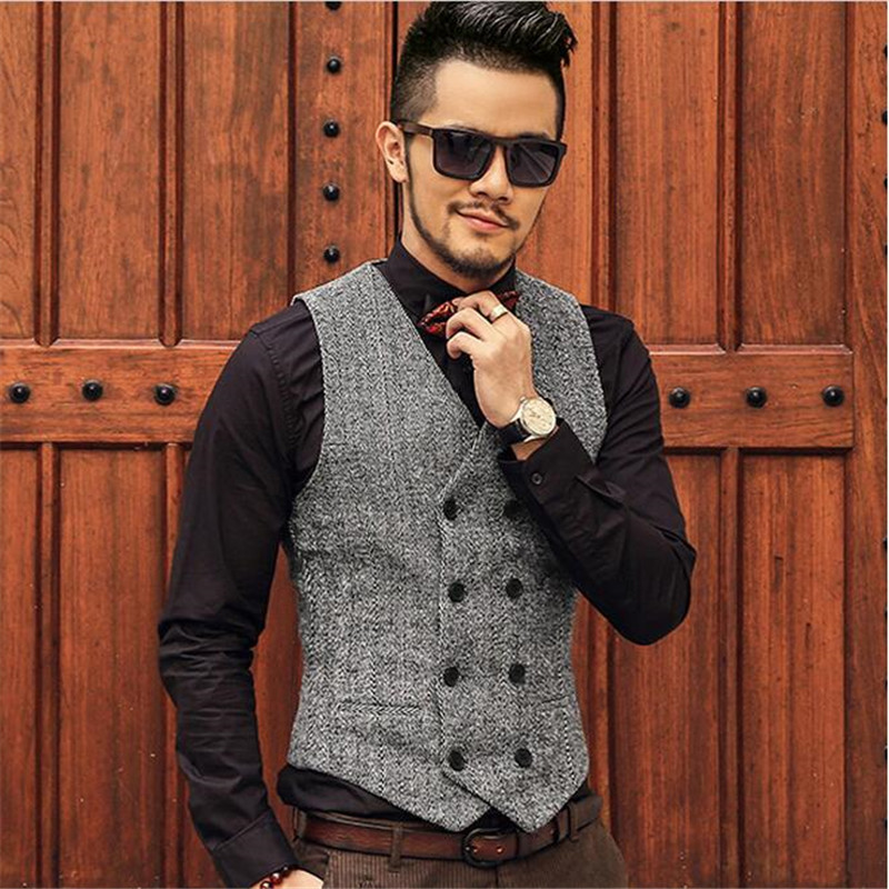 Moda Yüksek Kalite Yeni Erkekler Yelek Erkek Casual Suit V Yaka Slim - Erkek Giyim - Fotoğraf 3