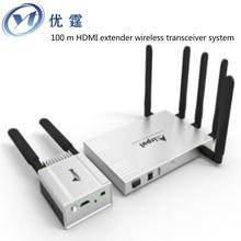 Envío libre de DHL/EMS WHDI wireless HDMI de transmisión de vídeo 100 metros wireless HDMI extender transmisor receptor 1080 p 329ft