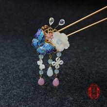 Винтажная заколка для волос ручной работы в китайском стиле с бабочкой и кисточками, аксессуары для волос, головные уборы для кимоно, косплей