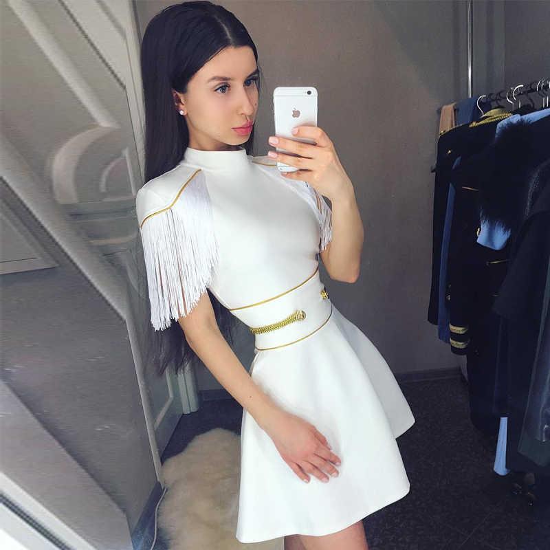 KLEEZY 2018 חדש הגעה לבן ציצית קצר אלגנטי Silm תחבושת שמלת קיץ סתיו Bodycon מועדון ללבוש Vestidos HL4170