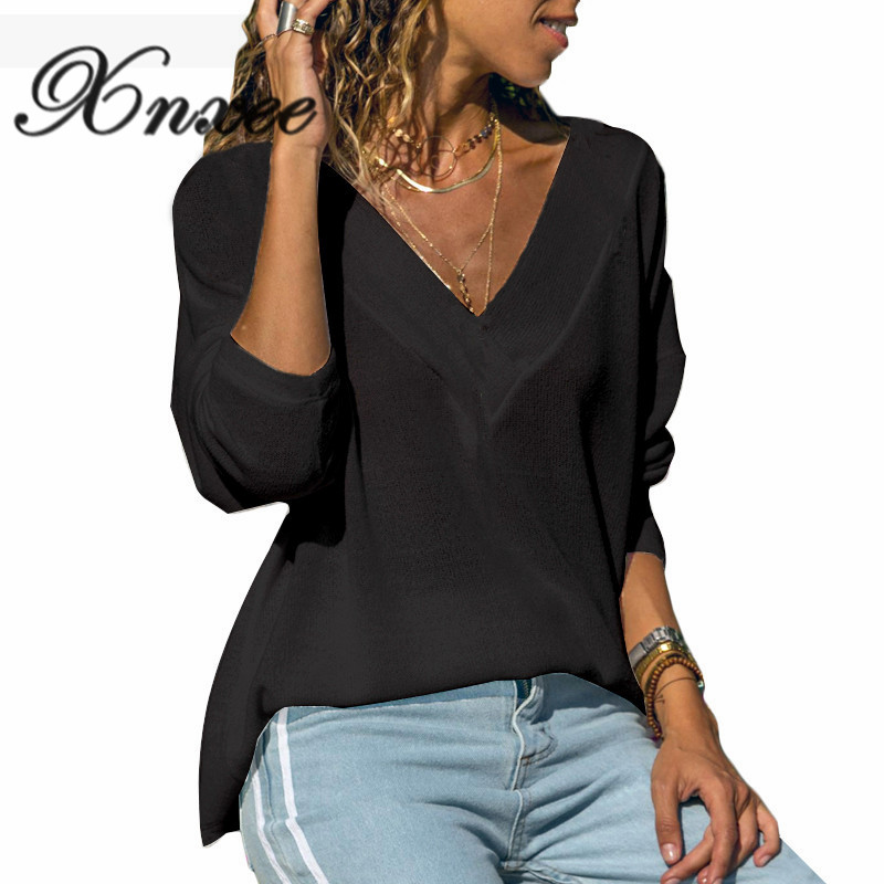Xnxee Autumn Casual Pure colour V neck Lady 39 s Top with Long Sleeves in Pullovers from Women 39 s Clothing