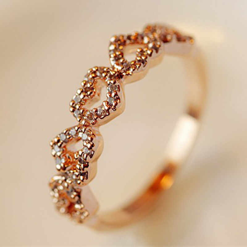 Female Heart Ring Exquisite Love Crystal Rings Wedding Engagement Jewelry Fashion Japan and South Korea Style Five Heart Rings