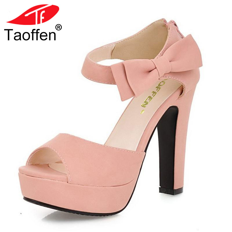 TAOFFEN Size 31-43 New Summer Peep Toe Ankle Strap Orange Sweet Thick High Heel Sandals Platform Lady Women Shoes qplyxco 2017 big small size 32 46 peep toe ankle strap thick high heel sandals platform ladies shoes women sandal 2095 page 6