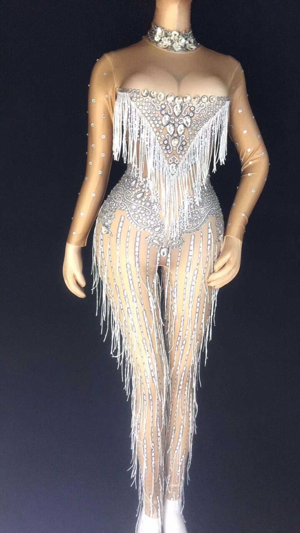 Glisten Silver Rhinestones Jumpsuit Sexy Tassels Big Stones Stretch  Bodysuit Nightclub Singer Dance Party Outfit Women s Clothes a17d5a440c24