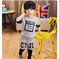 New Boy's  T-shirt + Pants Suit  Children's Clothing Set  Wear Spring Kids Active Fake Two Piece Letter Sweatshirt and Trousers