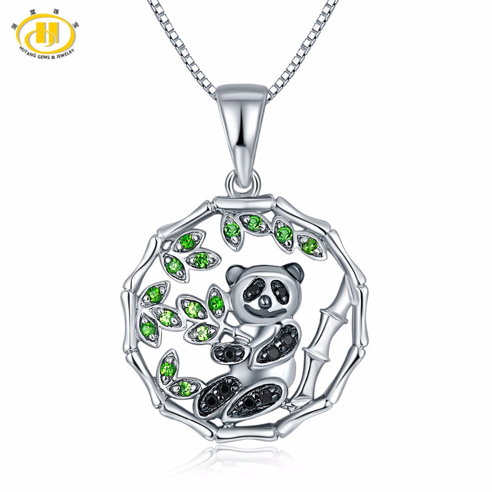 Hutang Solid 925 Sterling Silver Natural Gemstone Chrome Diopside & Spinel Panda Pendant Necklace Fine Jewelry For Women Gift