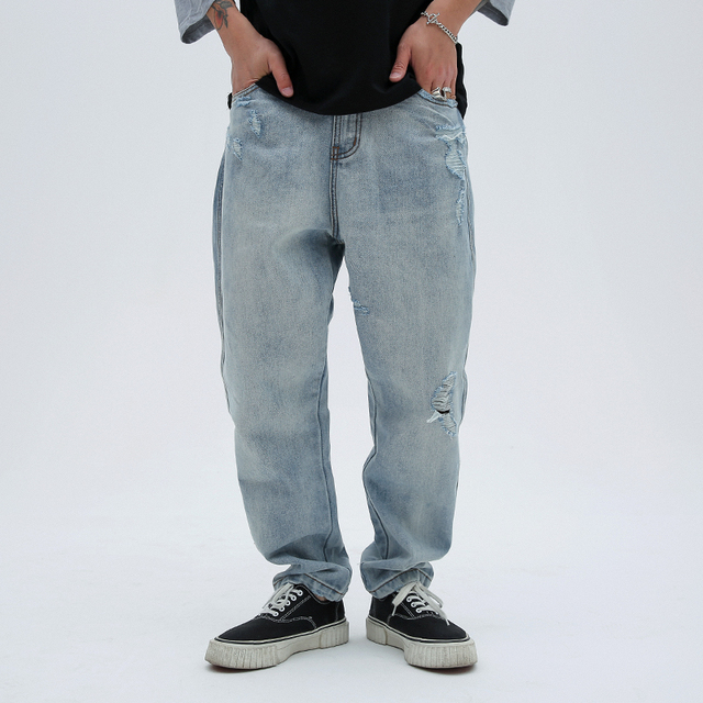 CHINISM Distressed Hole Denim Jeans Men Letter Embroidery Loose Straight Cowboy Jeans Hip Hop Swag Long Trousers