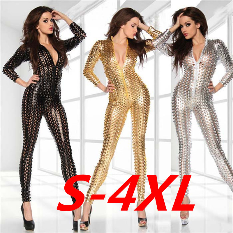 RAISEVERN Tight-Jumpsuit Nightclub Stage-Costume Female Women Sexy Patent DS Zipper Package