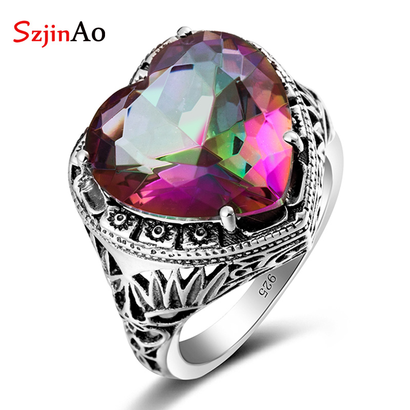 Szjinao wholesale anillos Vintage Jewelry 925 Sterling Silver Rings Charm Rainbow Topaz Heart-shaped Stones For Women GiftsSzjinao wholesale anillos Vintage Jewelry 925 Sterling Silver Rings Charm Rainbow Topaz Heart-shaped Stones For Women Gifts