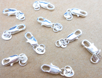 Wholesale Jewelry Findings 20PCS Real Pure 925 sterling silver  Lobster Clasps With Tag For Necklace+Opening Jump Rings