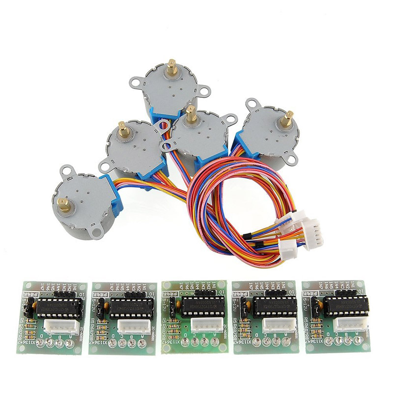 5sets Stepper Motor 28BYJ-48 5V DC 4-Phase 5-Wire + U2003 Driver Board 88   Sale ALI88 lson 5v 4 phase stepper motor learning package w driver board multicolored