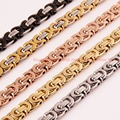 Customized Size 7-40 inch  6/8/10mm 316L Stainless Steel Multi-Color Men's Byzantine Link Chain Necklace Or Bracelet Bangle