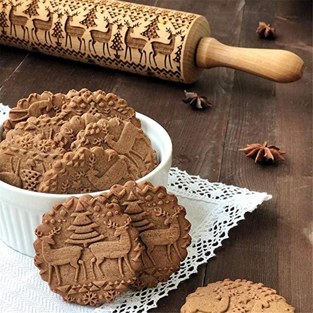 Christmas Embossing Rolling Pin Baking Cookies Biscuit Mold Fondant Cake Dough Engraved Roller Reindeer Snowflake Navidad Decor (1)