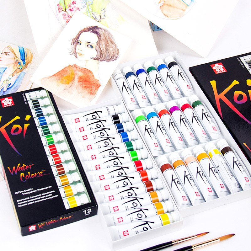 Sakura Koi transparent watercolor paint koi full transparent watercolor 12 color 18 color set 12ml sakura watercolor 12 15 18 colors 12ml pigment translucent easy to wash additional gold silver color yellow box art set