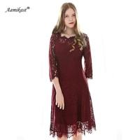 Aamikast Fashion Women Lace Hollow Out Dresses Vintage Solid Color Vestidos Autumn Elegant Draped O neck Dress D0655