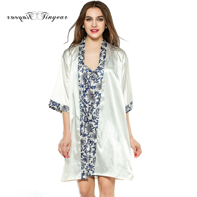 Tinyear 2017 Fashion Women Robe Gown Set Faux Silk Robe Femme Satin ...