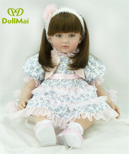 fashion 60CM Real soft Silicone Girl Reborn Baby Girl Doll Toys Realistic Newborn Princess Babies Fashion Dolls Toy Bebe Reborn wholesale 23 fashion doll reborn babies full silicone vinyl newborn dolls blonde wig baby toys for princess birthday gifts