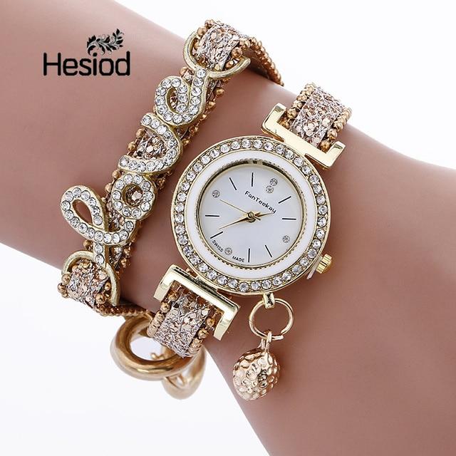Hesiod Wedding Luxury Love Crystal Female Wist Watch Bracelet Watches for Women