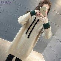 2018 Hooded Warm Long Sweater Women Autumn Winter Woman Sweater Knitting Pullovers Womens Sweaters Femme Loose Pull Female Coat