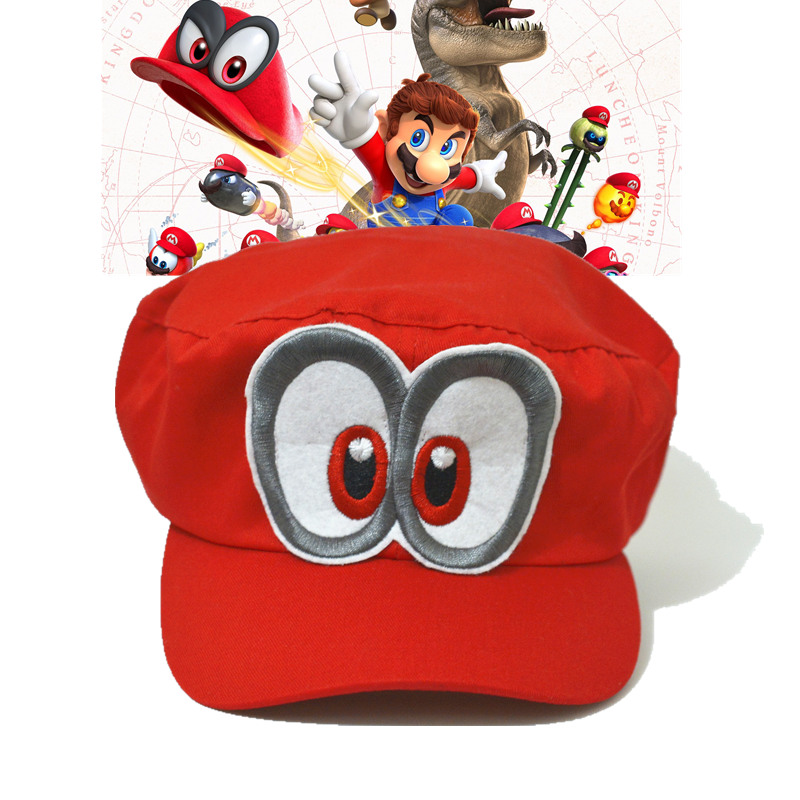a5a03797ce2081 Game super mario hat mario odyssey cap cosplay adult red cotton unisex  Adjustable
