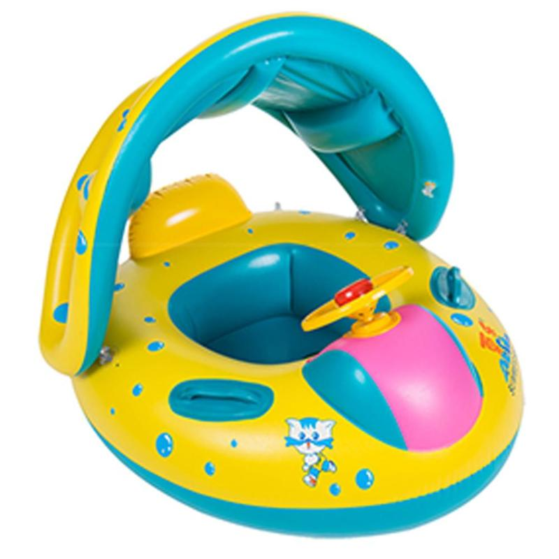 Kids Baby Swimming Rings Safe Inflatable Infant Yacht Swim Pool Toy for Baby Adjustable Sunshade Child Toddler Seat Float Boat dual slide portable baby swimming pool pvc inflatable pool babies child eco friendly piscina transparent infant swimming pools
