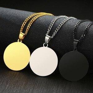 """Vnox Personalisierte Einfache Runde Anhänger für Männer Frauen Glänzenden Klar Edelstahl Halskette Benutzerdefinierte Einzigartige Schmuck mit 24 """"Kette"""