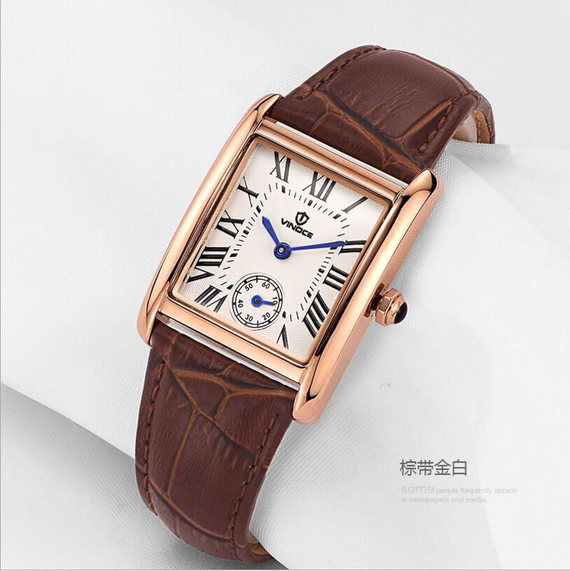 VINOCE Women Watch Top Fashion Brand Female Clock Gold Case Calendar Display Real Leather Strap Waterproof Wristwatches Hot Sale real amount of ceramic fashion set auger waterproof quality precision rotary calendar watch brand man woman a good watch