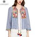 2017 mujeres del verano de boho étnico bordado chaqueta a rayas de manga larga camisa corta capa bola lace up vintage casual tops outwear