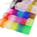 (50 yardas/rollo) cinta de Organza al por mayor regalo envoltura de decoración cintas de seda Navidad tela de encaje 12/15/20/25/40/50mm