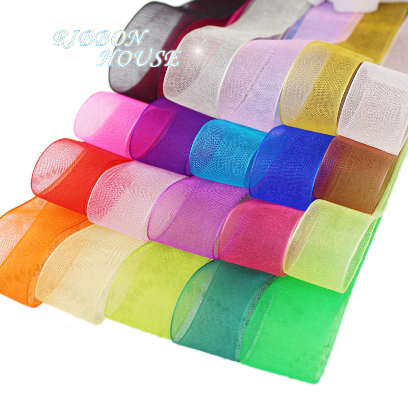 (<font><b>50</b></font> yards/roll) Organza Ribbon Wholesale gift wrapping decoration Christmas silk ribbons lace fabric 12/15/20/25/40/50mm image