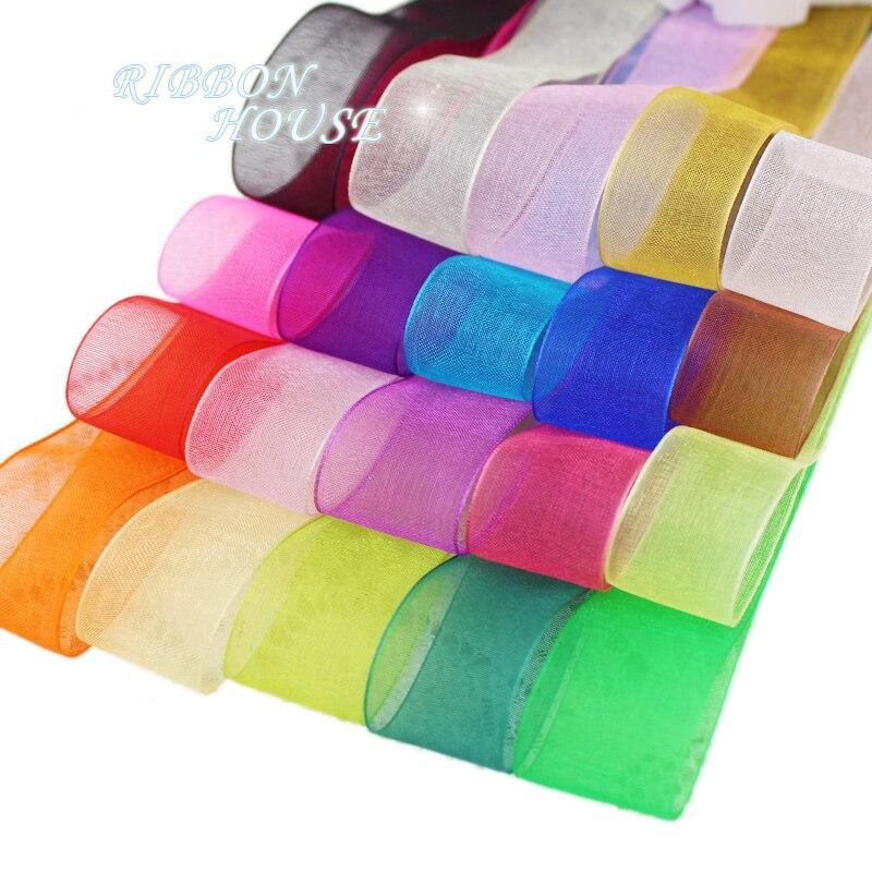 (50 yards/roll) Organza Ribbon Wholesale gift wrapping decoration Christmas silk ribbons lace fabric 12/15/20/25/40/50mm(China)