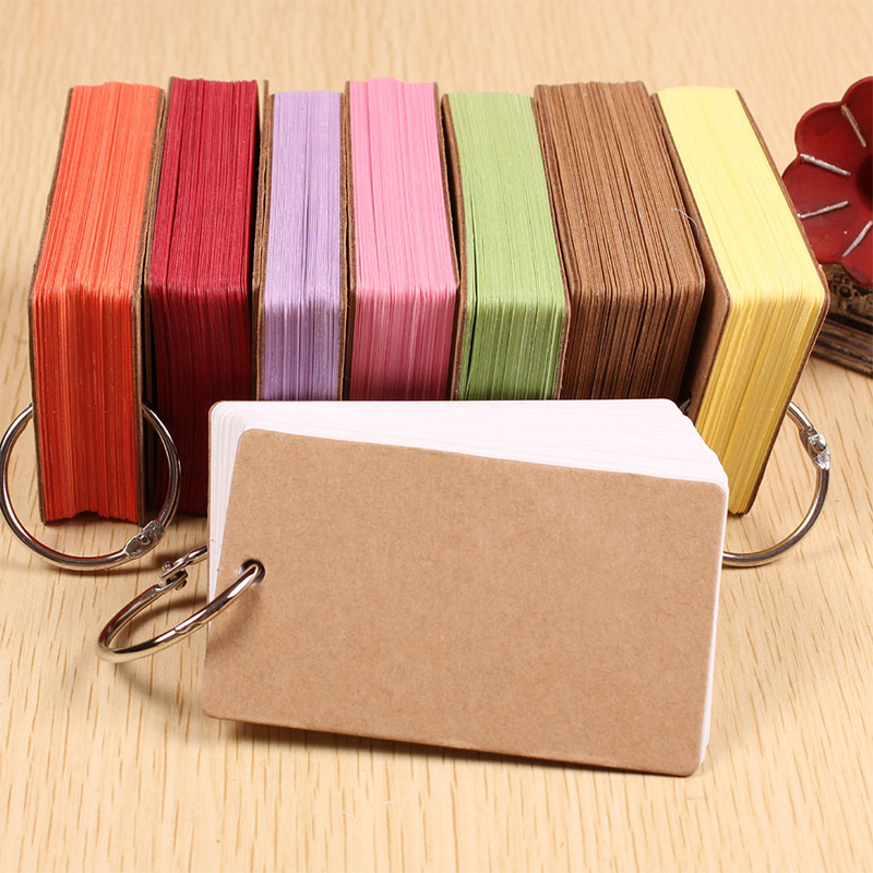 DELVTCH 8colors Notepad Mini Memo Pad Word Cards Paper Memory Card with Ring for Office and School Supplies Stationery Cards non standard die cut plastic combo cards die cut greeting card one big card with 3 mini key tag card