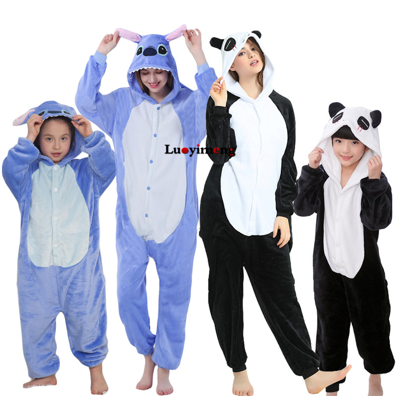 Kigurumi Animal Unicorn Pajamas For Girls Women Winter Unisex Flannel Stitch Panda Sleepers Pijama Unicornio Sleepwear Homewear