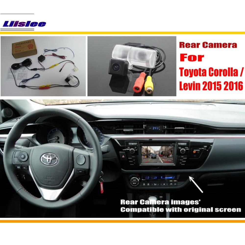 Liislee Untuk Toyota Corolla / Levin 2015 2016 / RCA & Skrin Asal Serasi Rear View Camera / Back Up Reverse Camera Sets