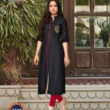 feb4f259c9fe3 Hint Geleneksel Kurti 3 Çeyrek Kollu Siyah Pamuk Kurta Bollywood Tasarımcı  Tunik Baskılı Üst Kadın Elbise Günlük Parti Giyim
