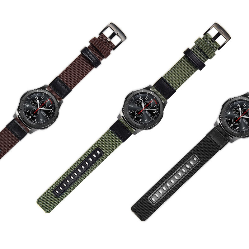 22mm 20mm Woven Nylon Leather Watch Band Strap For Samsung Gear S3 Sport Huawei Watch 2