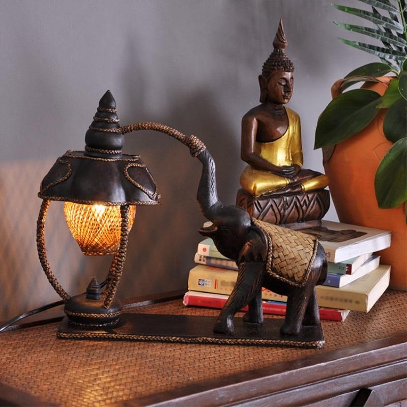 Thailand Style Elephant Bamboo & Wooden Table Light Livingroom Bedroom Restaurant Desk Light Decoration Lamp Free Shipping